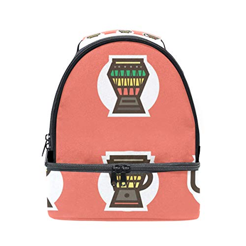 LALATOP Djembe Double Lunch Box Reusable Insulated School Office Picnic Lunch Tote Bag