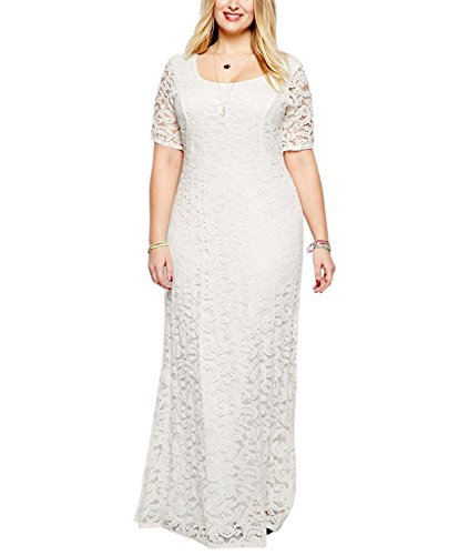 Nemidor Women's Full Lace White Plus Size Wedding Maxi Dress (24W, White)