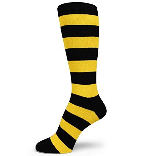 Spotlight Hosiery Two Color Striped Mens Dress Socks Black/Yellow ()