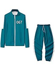 Unisex Squid Game 2pcs Tracksuit Member Number Printed Long Sleeve Sweatshirt + Trousers with Drawstring Set Casual Sportswear Outfit Cosplay Costume for Sweatsuit Outfit