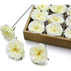 MaxFlowery Silk Garden Roses with Wire Stems 24/Box, Faux Flower Blooms Heads for Floral Arrangement Wedding Home Indoor Outdoor Decoration (Pale Yellow) 105