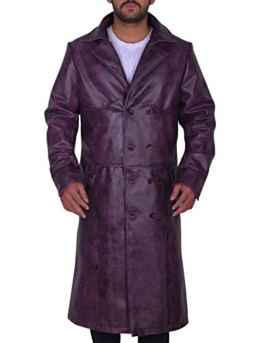 TrendHoop Mens Fashion Classic Style Double Breasted Leather Long Trench Coat Jacket (Purple Classic, Medium)