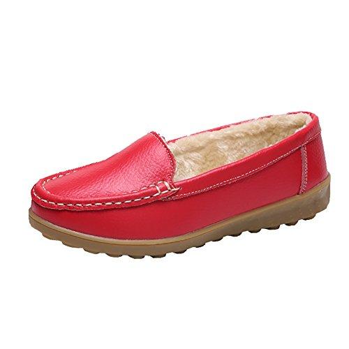 Meeshine Frauen Leder Kunstfell Slip auf Mokassins Hausschuhe Casual Winter warme Halbschuhe flache Schuhe rot