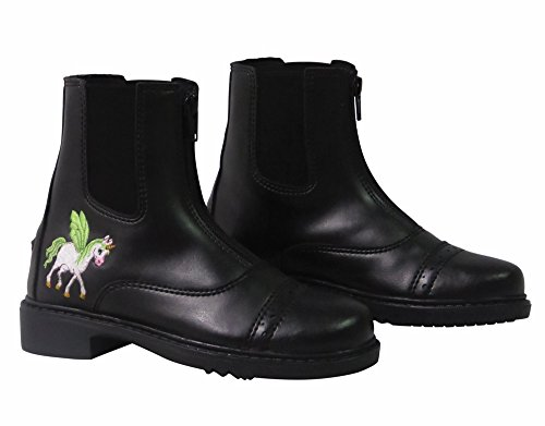TuffRider Children's Unicorn Front Zip Paddock Boots - Black - 1 CH