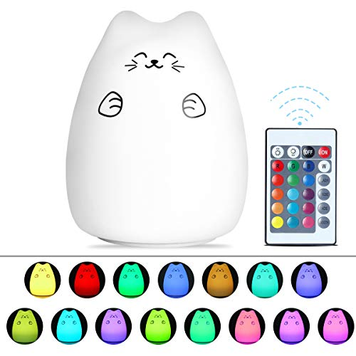 Cat LED Night Light Baby Kids, Silicone Nursery Nightlights Tap Sensor Lamp with Remote Control, 16 Colors/ 4 Lighting Modes/Brightness Adjustable/USB Rechargeable, Gift Idea for Christmas, ()
