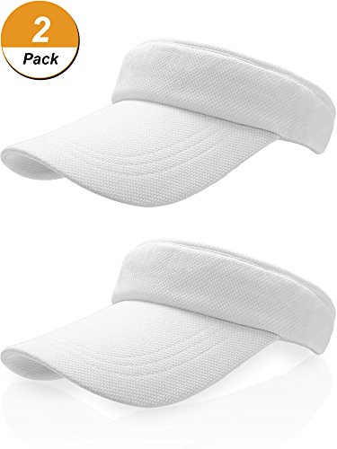 Baseball Golf Visor - Frienda Sun Visor Cap Tennis Hat Golf Visors Baseball Cap with Adjustable Strap for Cycling Fishing Tennis Running Jogging (2pack) White(45 cm to 56 cm )Medium