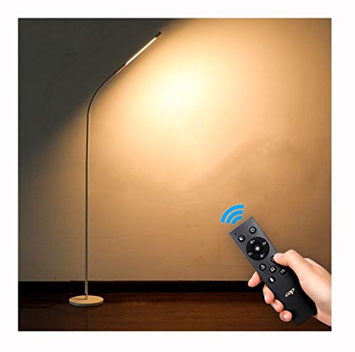 Floor Lamps Remote Control Floor Lamp, LED Eye Protection Standing Lamp/Living Room Bedroom Study Bedside Study Piano Reading Floor Lamp 7 Watt Adjustable Brightness (Color : White)