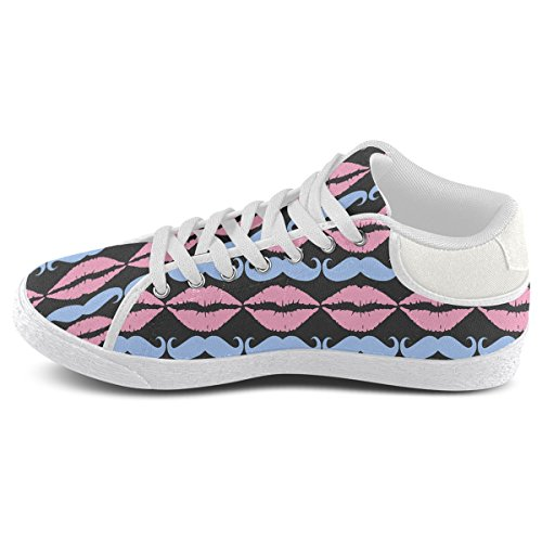 Artsadd Girly Pink Hipster Mustache and Lips Chukka Canvas Shoes For Men (Model003) 7VDwXQILyk