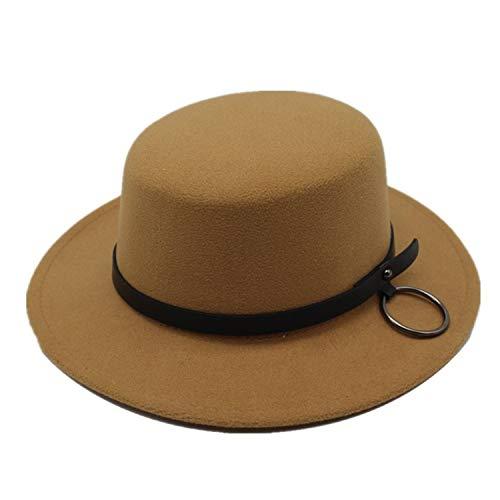 (European US Wool Boater Flat Top Hat Wide Brim Felt Fedora Hat with Chain Feltro Bowler Gambler Top Hat Women Men Camel)