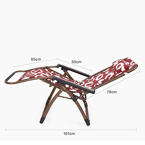 DIDIDD Plus cotton thick folding chairs recliner reinforced steel pipe folding chairs afternoon chair lazy loungers (style optional),A by DIDIDD (Image #2)