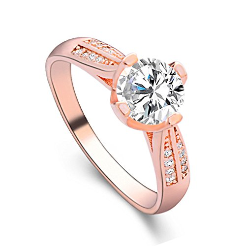 FEDULK Womens Dazzling Natural Ruby Diamond Engagement Antique Ladies Gifts Light Luxury Rings (8, Rose Gold) ()