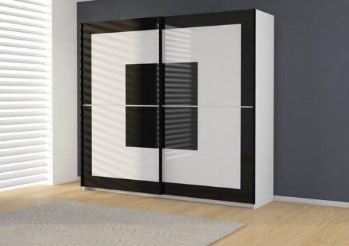 Armario de puertas correderas armario P849DI02 en blanco o negro vidrio: Amazon.es: Hogar