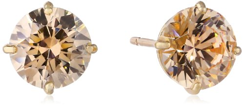 - 10K Yellow Gold Stud Earrings set with Round Cut Champagne Swarovski Zirconia (2 cttw)