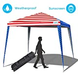 Quictent Silvox 10x10 Ez Pop up Canopy Tent Instant Folding Gazebo Waterproof with Half Wall & Carry Bag-3 Colors (American Flag)