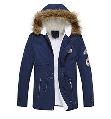 4cbf7ba9db72 OUMIZHI Winter Baumwolle Herren Wintermantel mit Pelzkragen Kapuzenjacke  Outdoorjacke Winterjacke Warm Mantel Blau fVLcc99