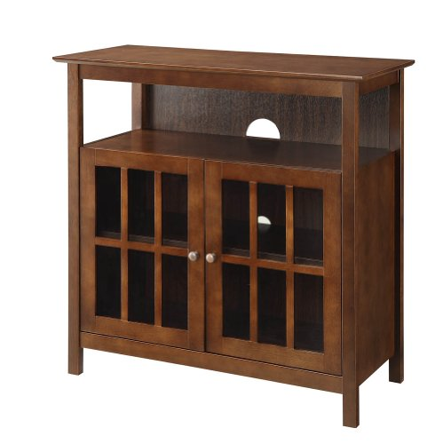 Contemporary Big Sur Highboy TV Stand, Espresso (Media Storage Ottoman)