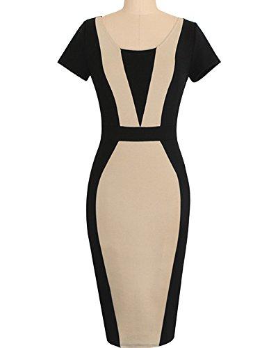 Damen Etuikleid Knielang Business Kleid Elegantes Abendkleid Pencil Kleider  Kaki OEOia7GN 9b03ead692