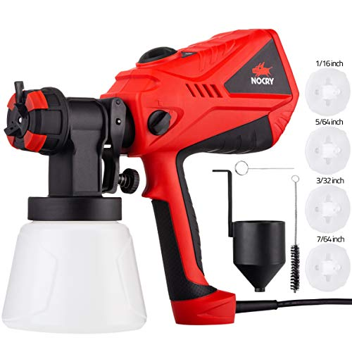 NoCry 1200ml/min Electric Paint Sprayer - 5A/600W Motor, 100 DIN/s Max Viscosity, Adjustable Air and Paint Flow Controls, 33.814fl.oz Container, 3 Spray Patterns; 4 Nozzles Included ()