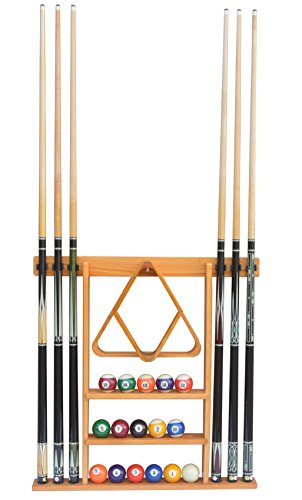 Flintar Wall Cue Rack, Stylish Premium Billiard Pool Cue Stick Holder, Made of Solid Hardwood, New Improved Wall Mounting Hardware L Bracket Included, Cue Rack Only, Oak Finish ()