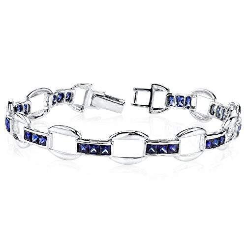 Created Sapphire Bracelet Sterling Silver Princess Cut by Peora