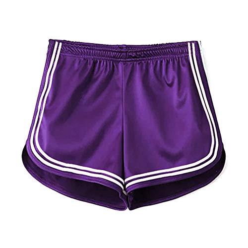 Women's Sexy Booty Dolphin Shorts Sports Gym Workout Yoga Hot Pants (L, Purple) -