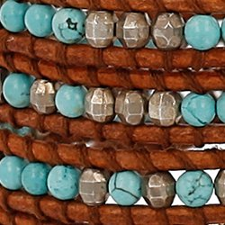 Chan Luu Turquoise Mix of Semi Precious Stones Leather Brown Wrap Bracelet by Chan Luu (Image #1)