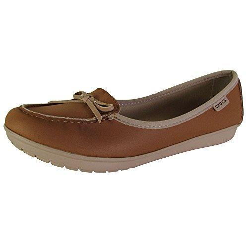 Crocs Womens Wrap ColorLite Ballet Flat Shoes, Hazelnut/Tumbleweed, US 9