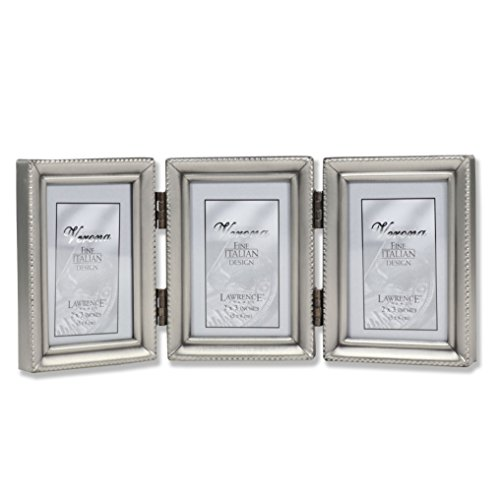 Lawrence Frames Antique Pewter Hinged Triple 2x3 Picture Frame - Beaded Edge Design ()
