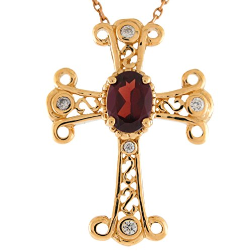 (Jewelry Liquidation 14k Yellow Gold Genuine Garnet Gem and Diamond Accented Ladies Cross Pendant)
