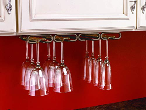 Rev-A-Shelf 3450-11ORB 11-Inch Quad Under Cabinet Wine Glass Rack and Stemware Holder, Oil Rubbed Bronze