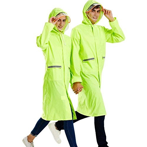 - Rain Poncho Long Reflective Waterproof Raincoat with Hood for Men Adult (Fluorescent Green, Small)