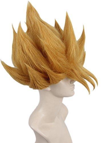 [Topcosplay Synthetic Short Straight Cosplay Costume Wig Blonde Anime Wig] (Goku Wig)