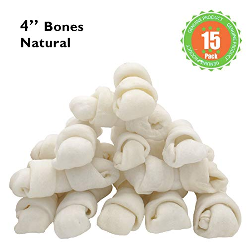 MON2SUN Dog Rawhide Knot Bones Natural 4 Inch 15 Count for Small and Medium - Natural Knot Bone Rawhide