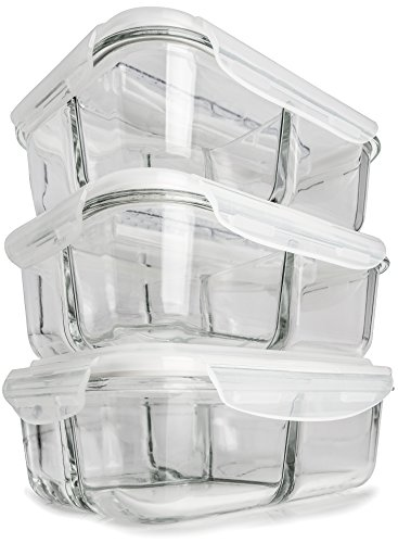 [3-Pack] Glass Meal Prep Containers 3 Compartment - Food Storage Container Set with Airtight Locking Lids with Cutlery Compartment - Portion Control - Microwave, Freezer, Oven & Dishwasher Safe