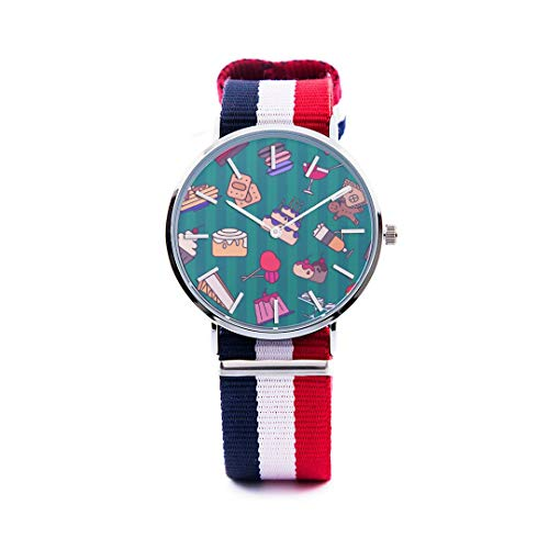 Unisex Fashion Watch Bread Jam Sweet and Sour Sauce Breakfast Print Dial Quartz Stainless Steel Wrist Watch with Nylon NATO Strap Watchband for Women Men 36mm Casual Watch