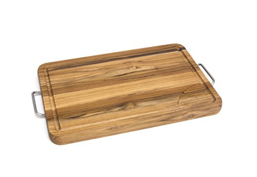 Lipper International 7260 Large Teak Wood Carving Board with Metal Handles, 18-3/4
