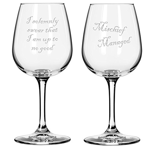 Harry Potter Mischief Managed Etched Wine Glasses