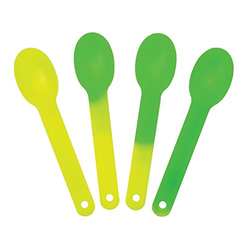 (XL Color Changing Plastic Spoons - Changes From Yellow To Green - Changes Color When Cold! Extra Durable Birthday Party Spoons - Frozen Dessert Supplies - Made in USA! Fast Shipping! 50 Count)