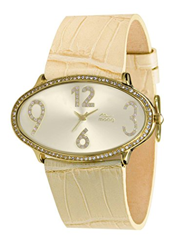 Moog Paris Egg Women's Watch with Gold Dial, Beige Genuine Leather Strap & Swarovski Elements - M44142-002
