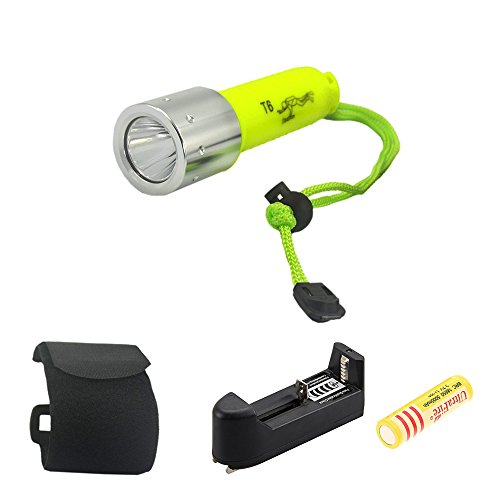 Aidisun 2000LM XM-L T6 LED Torch Waterproof Diving Flashlight with a Charger and a Rechargeable Battery Yellow (2000lm Cree Xm L T6 Led Flashlight Torch)
