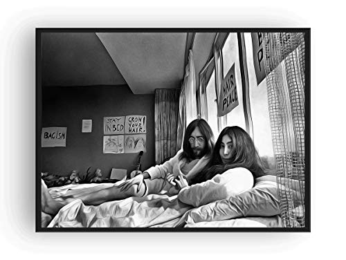 Mile High Media John Lennon Yoko ONO Canvas Poster Print Fine Art Black and White Bed-in for Peace (24x36) ()