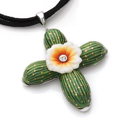 Franz Porcelain Jewelry - Franz Cactus Flower Necklace * Porcelain Jewelry FJ00192