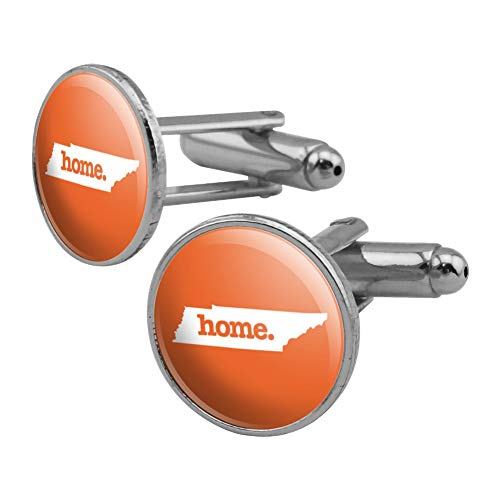 GRAPHICS & MORE Tennessee TN Home State Solid Orange Officially Licensed Round Cufflink Set Silver Color