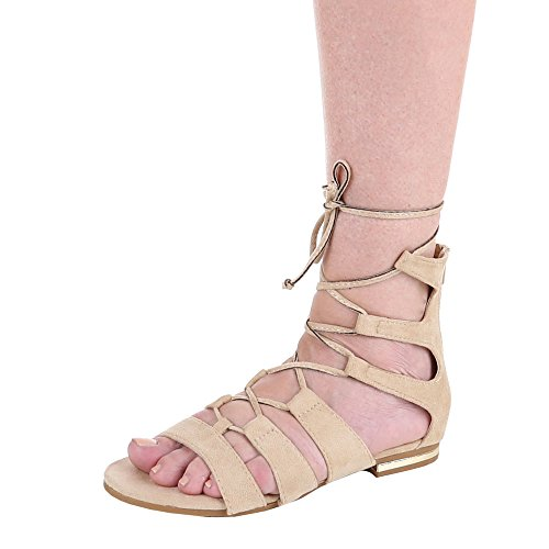 Design Ital sandalias beige Beige mujer fqngdBw