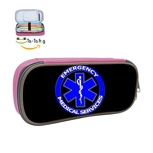 Yumiyah New Style Police & Firefighter & EMT Flag Pencil Case Ideas Student Pen Bag Zipper Volume Pink by Yumiyah