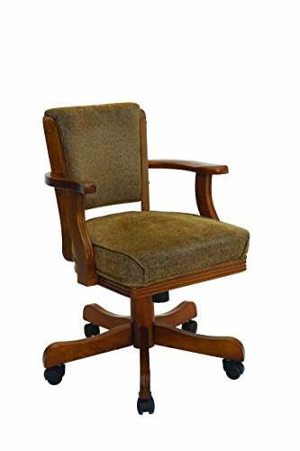 (Mitchell Upholstered Arm Game Chair Olive-brown and Amber)