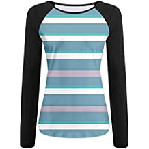Weiding Turquoise Dark Teal Stripes Thick and Thin Lines with Aqua Colors Pattern Women's Stretchy Long Sleeve Raglan Tshirt
