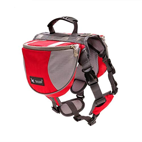 ZZmeet 2018 Polyester Pet Dog Saddlebags Pack Hound Travel Camping Hiking Backpack Saddle Bag for Small Medium Large Dogs, red Gift,M