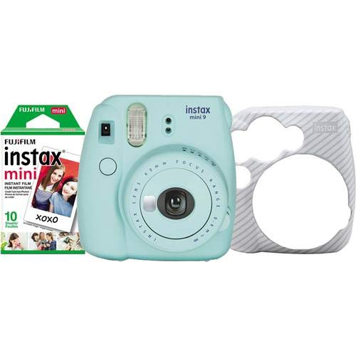 Fujifilm Instax Mini 9 Instant Film Camera Holiday Bundle Includes Instax Mini Instant Film, Ice Blue
