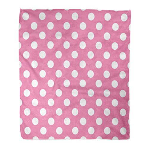 (Golee Throw Blanket Circle Polka Dot Pink and White Contemporary Cute Modern Pattern 50x60 Inches Warm Fuzzy Soft Blanket for Bed Sofa )